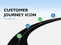 Customer Journey Icons Silhouette Destination To Another Milestones Circled Blocks