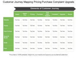 Customer Journey Mapping Pricing Purchase Complaint Upgrade