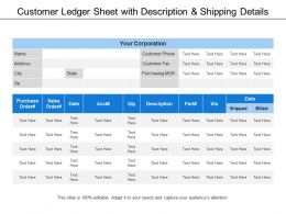 Customer Ledger Sheet With Description And Shipping Details
