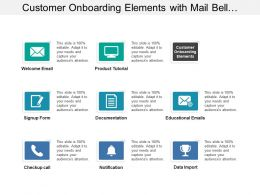 Customer Onboarding Elements With Mail Bell Document Pencil Image