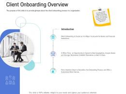 Customer Onboarding Process Client Onboarding Overview Ppt Introduction