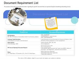 Customer Onboarding Process Document Requirement List Ppt Infographics