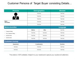 Customer Persona Of Target Buyer Consisting Details Of Demographics Customer Journey And Language