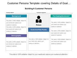 Customer Persona Template Covering Details Of Goal Purchase Decision And Background