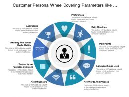 Customer Persona Wheel Covering Parameters Like Aspirations Preferences Daily Routines And Pain Points