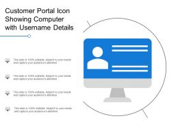 Customer Portal Icon Showing Computer With Username Details