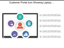 Customer Portal Icon Showing Laptop With Man Silhouette And Data