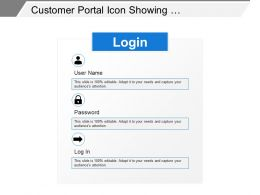 Customer Portal Icon Showing Log In Details