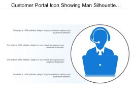 Customer Portal Icon Showing Man Silhouette With Headphones And Computer