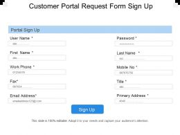 Customer Portal Request Form Sign Up