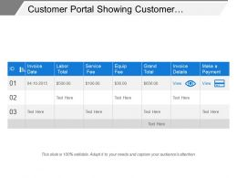 Customer Portal Showing Customer Payment Details