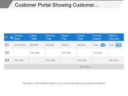 Customer Portal Showing Customer Payment Details