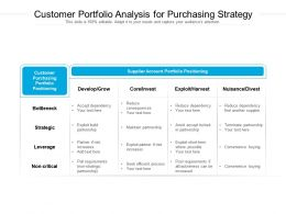 Customer Portfolio Analysis For Purchasing Strategy