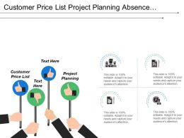 Customer Price List Project Planning Absence Vacation Timesheet Information