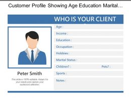 Customer Profile Showing Age Education Marital Status Sports