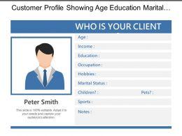 Customer Profile Showing Age Education Marital Status Sports