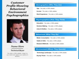 Customer Profile Showing Behavioral Environment Psychographics