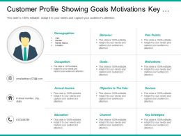 Customer Profile Showing Goals Motivations Key Strategies Occupation