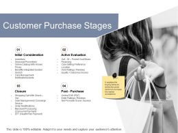 Customer Purchase Stages Initial Consideration Ppt Powerpoint Presentation Pictures