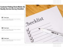 Customer Putting Check Marks On Quality Service Survey Checklist