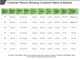 Customer Record Showing Customer Name And Address