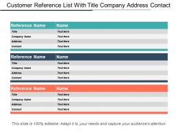 Customer Reference List With Title Company Address Contact