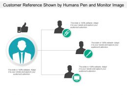 Customer Reference Shown By Humans Pen And Monitor Image