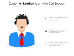 Customer Relation Icon With Call Support
