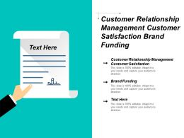 Customer Relationship Management Customer Satisfaction Brand Funding Cpb