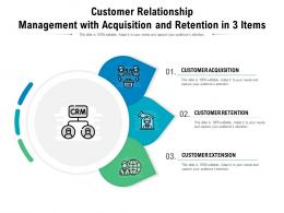 Customer Relationship Management With Acquisition And Retention In 3 Items