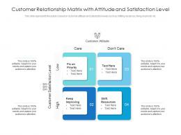 Customer Relationship Matrix With Attitude And Satisfaction Level