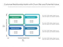 Customer Relationship Matrix With Churn Risk And Potential Value