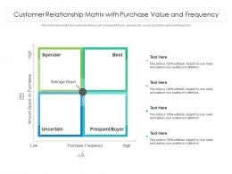 Customer Relationship Matrix With Purchase Value And Frequency