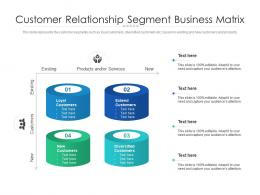 Customer Relationship Segment Business Matrix