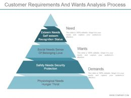 Customer Requirements And Wants Analysis Process Powerpoint Slide