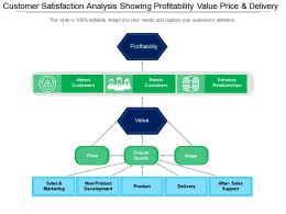 Customer Satisfaction Analysis Showing Profitability Value Price And Delivery