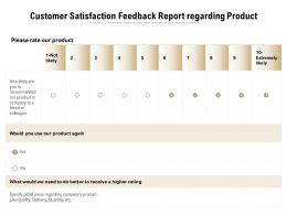 Customer Satisfaction Feedback Report Regarding Product