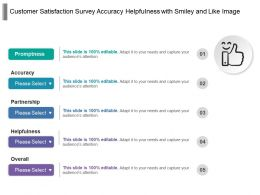 Customer Satisfaction Survey Accuracy Helpfulness With Smiley And Like Image