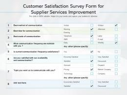 Customer Satisfaction Survey Form For Supplier Services Improvement