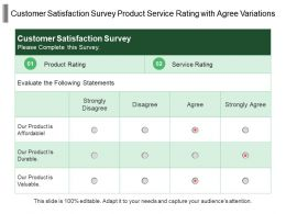 Customer Satisfaction Survey Product Service Rating With Agree Variations
