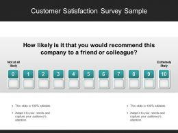 Customer Satisfaction Survey Sample Presentation Diagrams