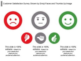 Customer Satisfaction Survey Shown By Emoji Faces And Thumbs Up Image