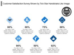 Customer Satisfaction Survey Shown By Tick Star Handshake Like Image