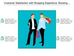 Customer Satisfaction With Shopping Experience Showing Thumbs Up
