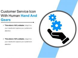 Customer Service Icon With Human Hand And Gears