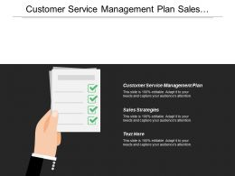 Customer Service Management Plan Sales Strategies Project Management
