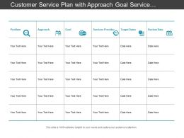 Customer Service Plan With Approach Goal Service Provider And Target Date