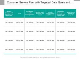 Customer Service Plan With Targeted Data Goals And Resources