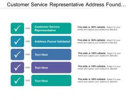 Customer Service Representative Address Found Validated Associated Rules