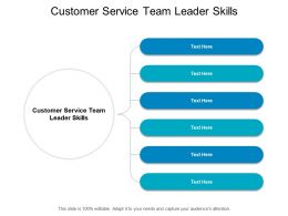 Customer Service Team Leader Skills Ppt Powerpoint Presentation Styles Shapes Cpb
